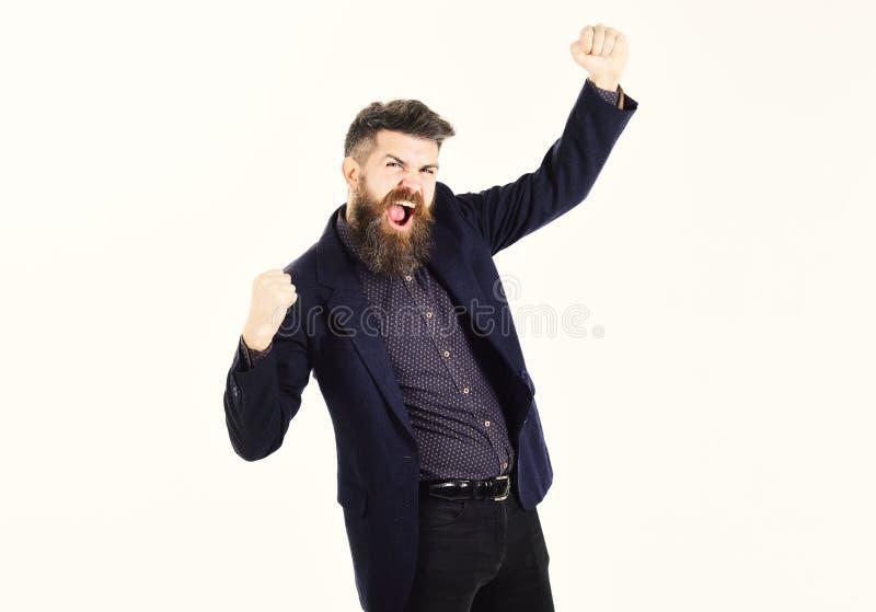 De gelukkige werkgever juicht voordelige overeenkomst toe Zakenman met lange baard en vrolijk gezicht Enterpreneur enjoyes bedrij royalty-vrije stock fotografie