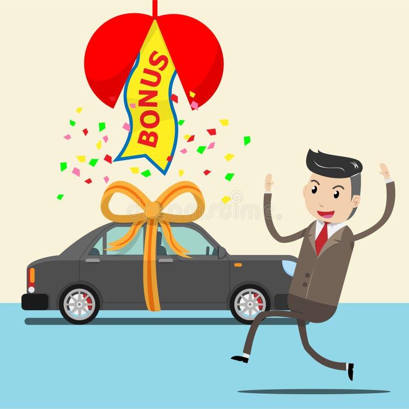 De gelukkige werknemer ontvangt nieuwe auto als verrassingsbonus of gift van BO stock illustratie
