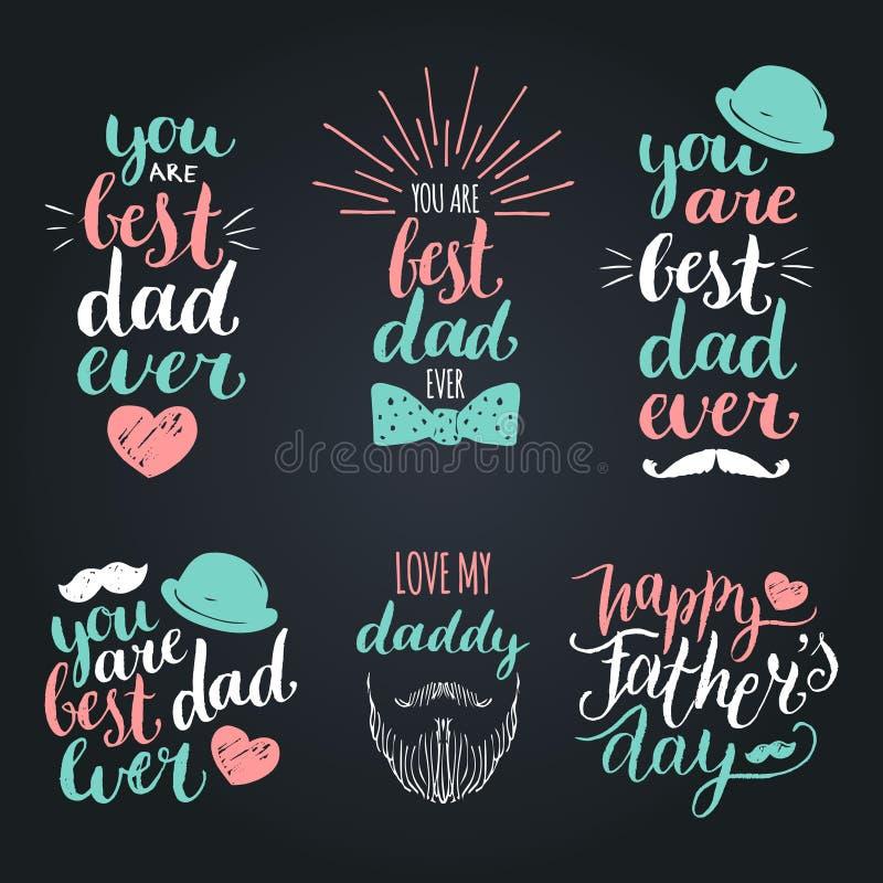 De gelukkige wijnoogst van de Vadersdag logotypes plaatste De vectorkalligrafieinzameling, u is ooit Beste Papa, houdt van me Pap royalty-vrije illustratie