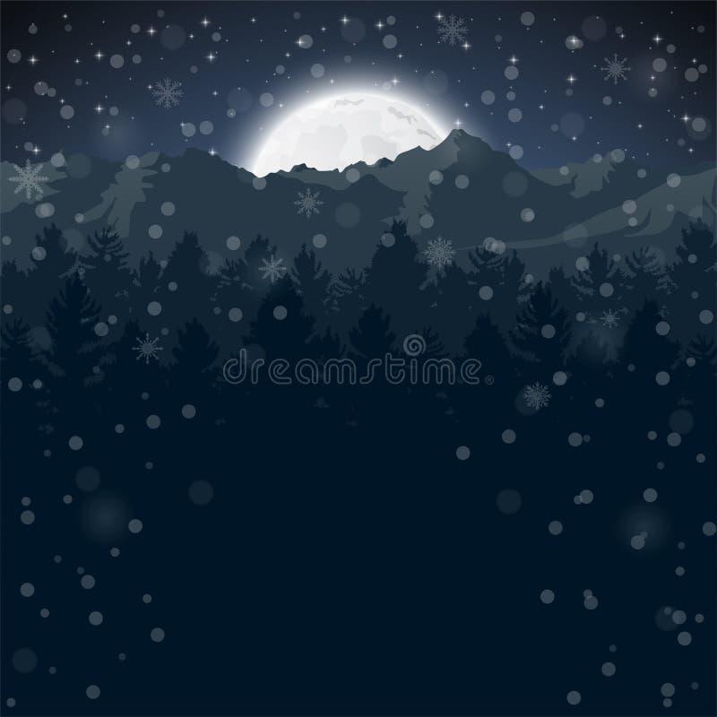 De gelukkige Winter met het gelijk maken van Bos en half maanlicht stock illustratie