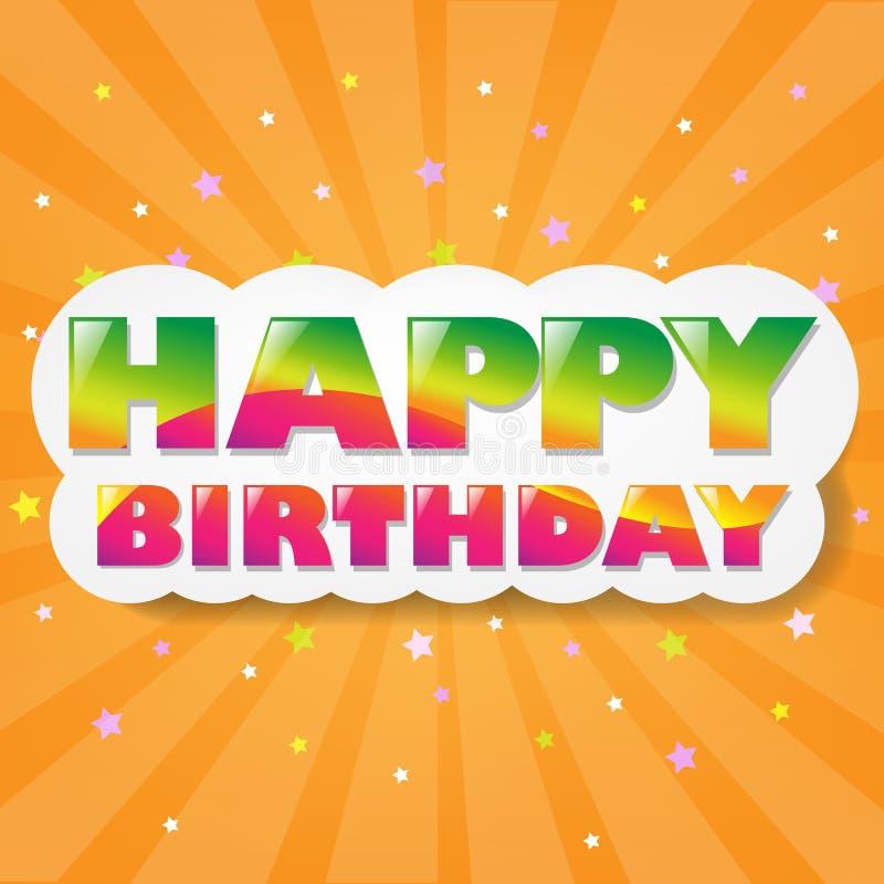 De gelukkige Wolk van de Verjaardag met Oranje Zonnestraal vector illustratie