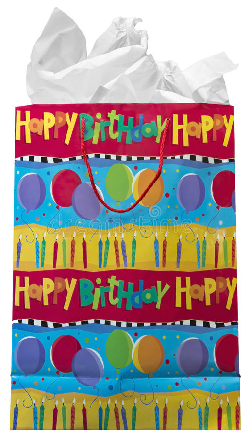 De gelukkige Zak van de Gift van het Verjaardagsgeschenk die op Wit wordt geïsoleerde royalty-vrije stock fotografie