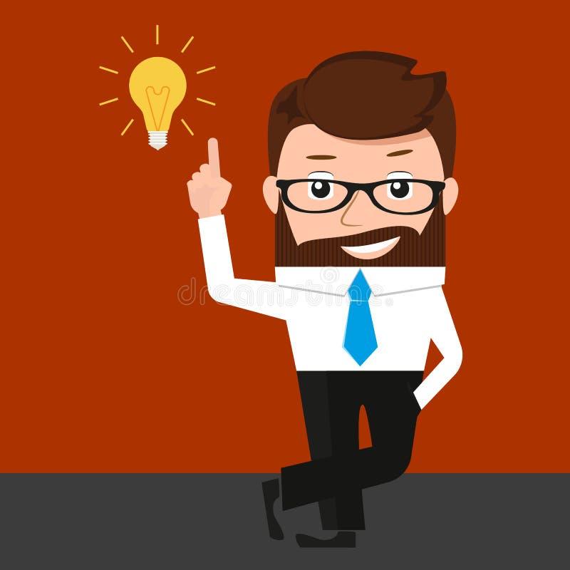De gelukkige zakenman heeft een idee vector illustratie