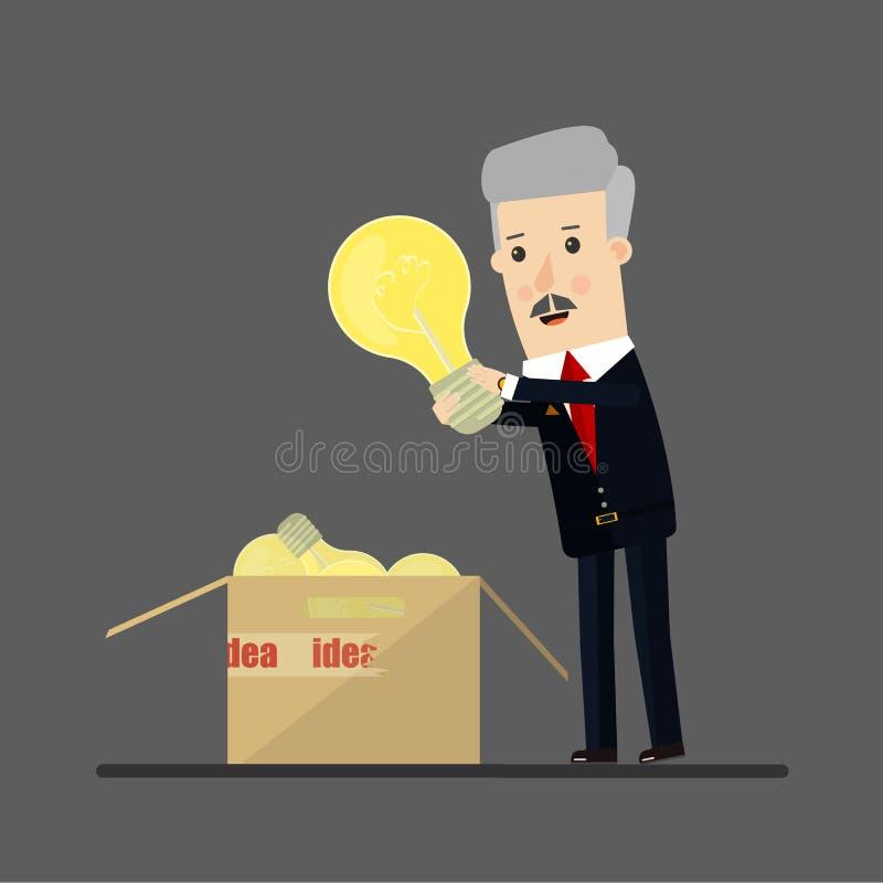 De gelukkige zakenman heeft een idee De illustratie van het bedrijfsconceptenbeeldverhaal stock illustratie