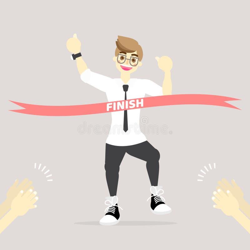 De gelukkige zakenman kruising beëindigt lijnlint met applausconcept vector illustratie