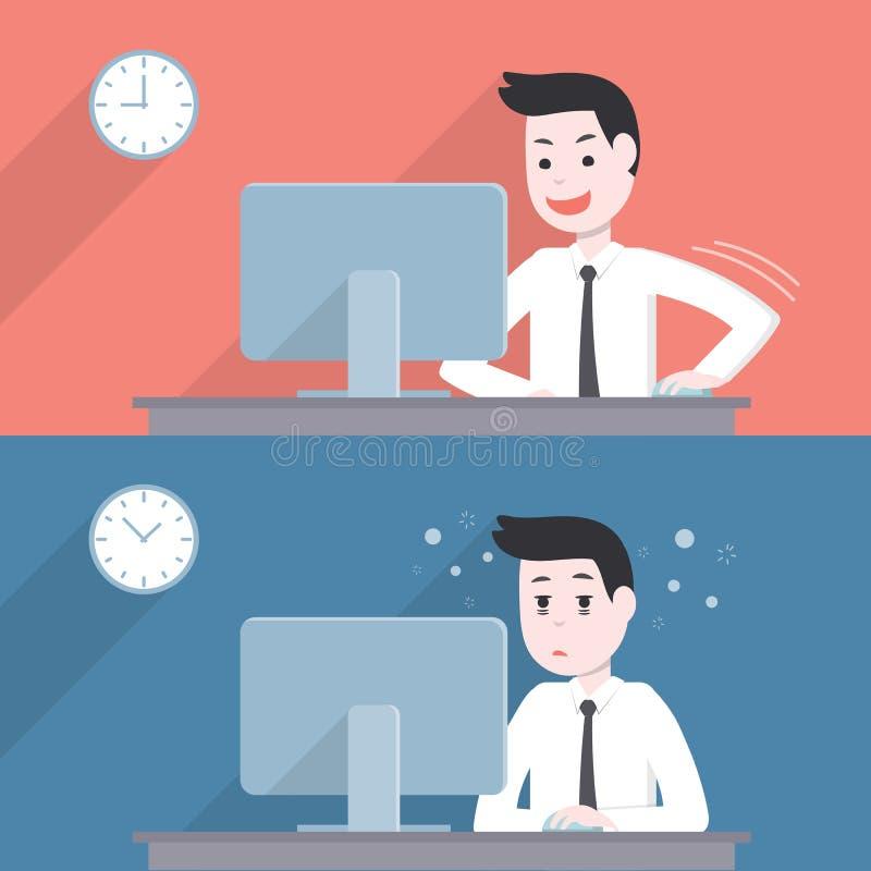 De gelukkige zakenmanactiviteit, en wordt vermoeid, slaperig vector illustratie