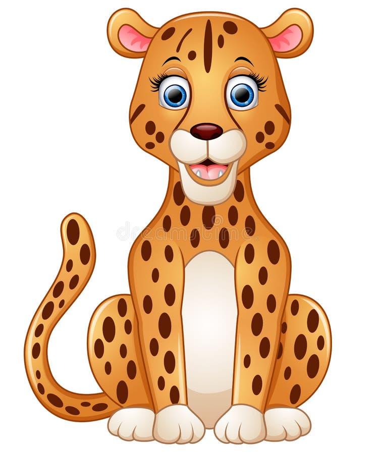 De gelukkige zitting van het luipaardbeeldverhaal vector illustratie
