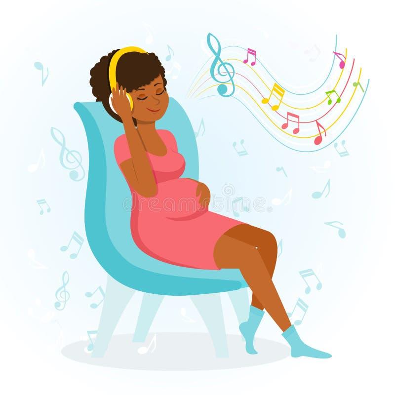 De gelukkige zwangere vrouw geniet van muziek vector illustratie