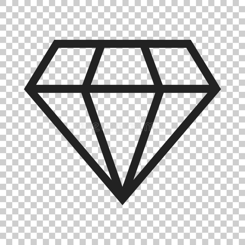 De gem vectorpictogram van het diamantjuweel in vlakke stijl Diamanthalfedelsteen IL royalty-vrije illustratie