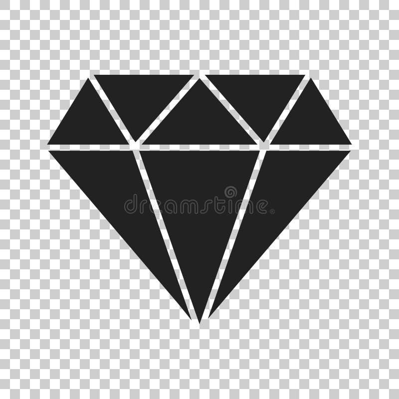 De gem vectorpictogram van het diamantjuweel in vlakke stijl Diamanthalfedelsteen IL stock illustratie