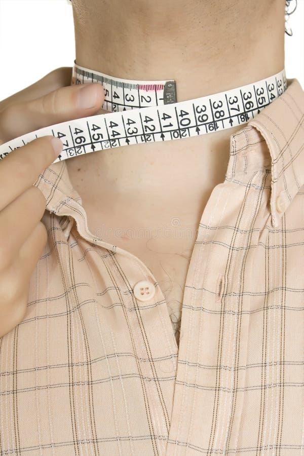 De gemaakte hals van de overhemdsmaatregel stock afbeeldingen