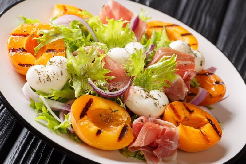 De gemakkelijke dieetsalade met mozarella, prosciutto, roosterde abrikozen, rode ui en slaclose-up op een plaat horizontaal royalty-vrije stock afbeelding
