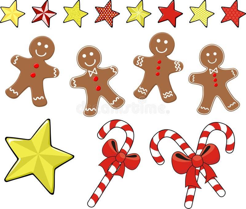 De gemberkoekjes van Kerstmis met suikergoedriet stock illustratie