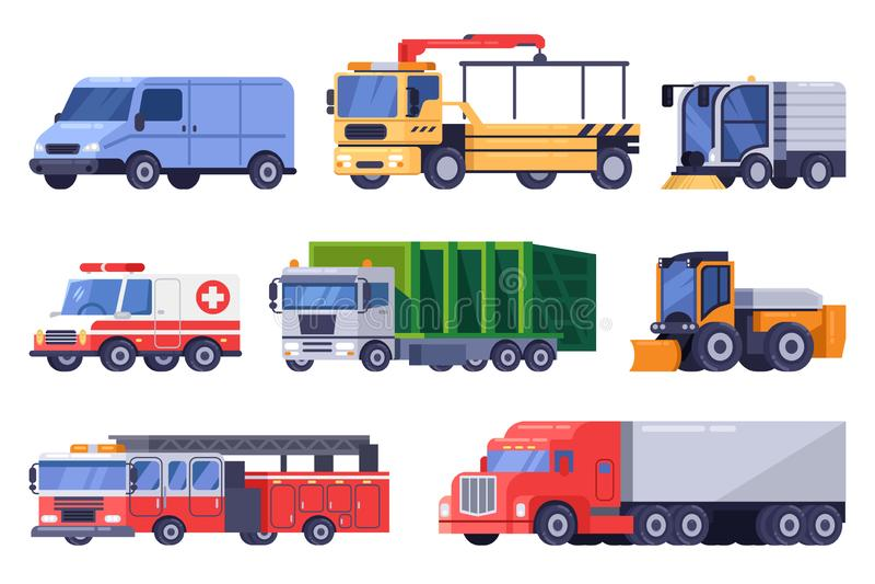 De gemeentelijke stadswegvervoer en reeks van het machinesmateriaal Vector vlakke voertuigillustratie stock illustratie