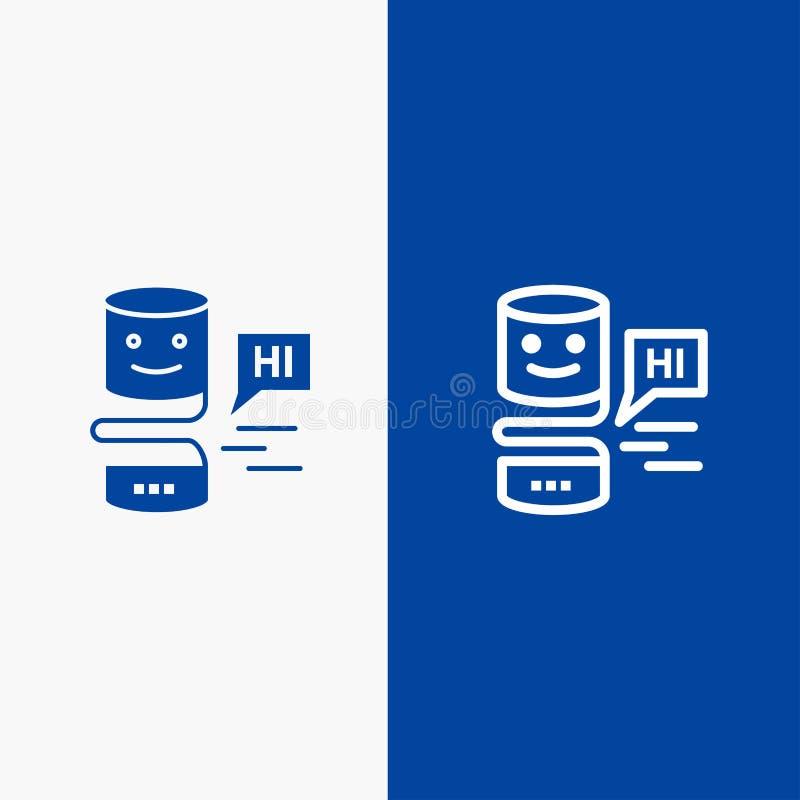 De gemoedelijke Gemoedelijke Interfaces, Grote Interface, denken Lijn en Lijn van de het pictogram Blauwe banner van Glyph de Ste vector illustratie