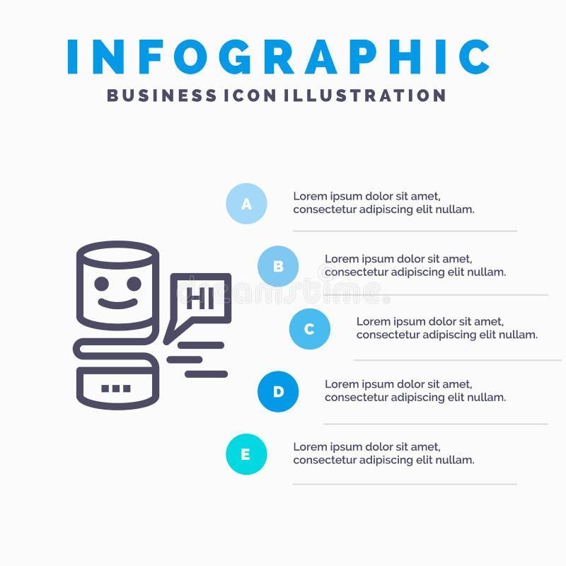 De gemoedelijke Gemoedelijke Interfaces, Grote Interface, denken Lijnpictogram met infographicsachtergrond van de 5 stappenpresen stock illustratie
