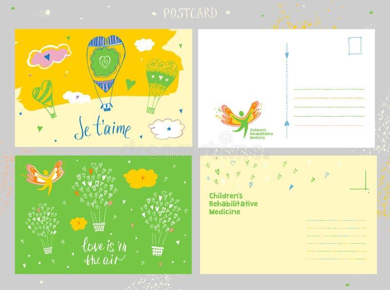 De geneeskunde van de kinderenrehabilitatie Gelukwensprentbriefkaar en vectorembleem die het gelukkige silhouet van gezond afschi royalty-vrije illustratie