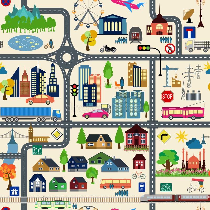 De generator van de stadskaart Het voorbeeld van de stadskaart Elementen voor uw creëren stock illustratie