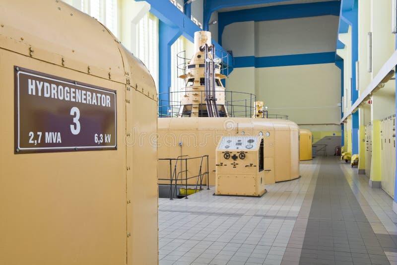 De generatorreeks van de waterturbine stock afbeeldingen