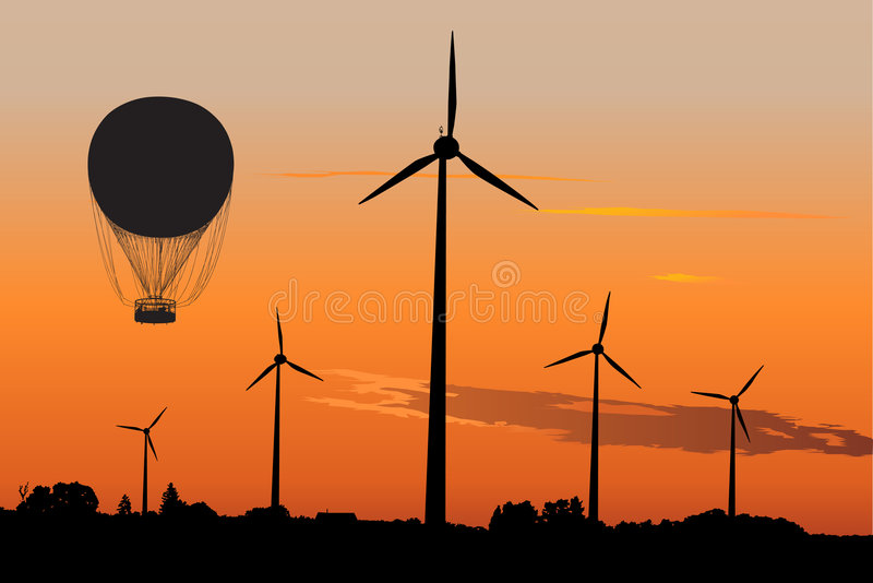 De generators en Lucht Baloon van de wind in zonsopgang royalty-vrije illustratie