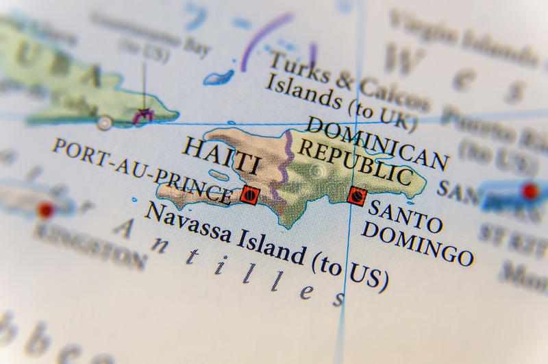 De geografische kaart van Haïti en van de Dominicaanse Republiek royalty-vrije stock foto's