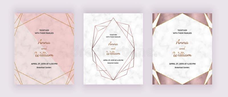 De geometrisch ontwerpkaarten met marmeren textuur, namen gouden veelhoekige lijnenkaders toe r stock illustratie