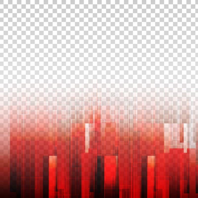 De geometrische abstracte vector van de elementen rode kleur met transparante achtergrond royalty-vrije illustratie