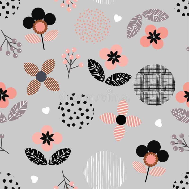 De geometrische bloemen en stip van de handverf en lijn naadloze patt stock illustratie