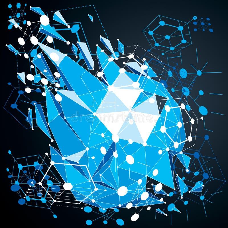 De geometrische 3d vector blauwe achtergrond van Bauhaus met lage polyabstra stock illustratie