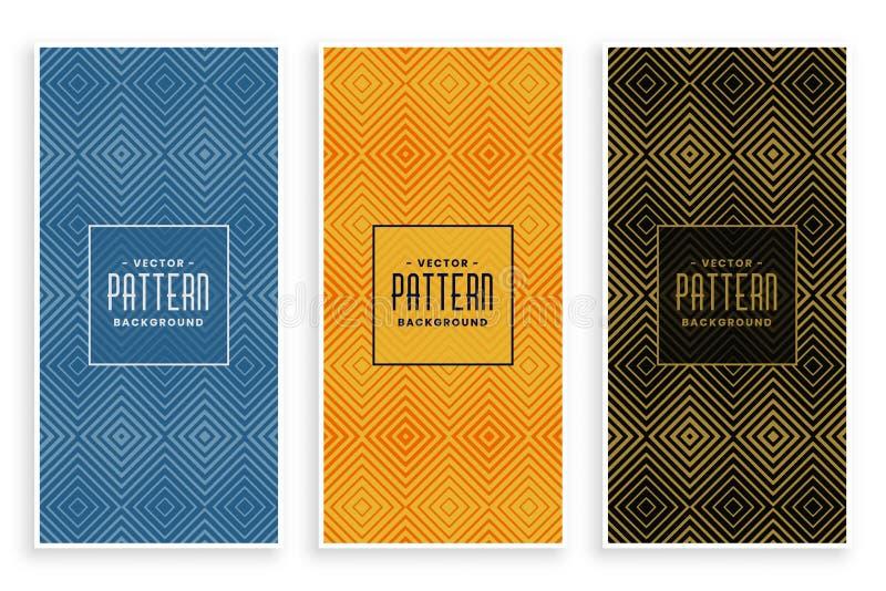 De geometrische geplaatste banners van het de lijnen abstracte patroon van de diamantvorm stock illustratie