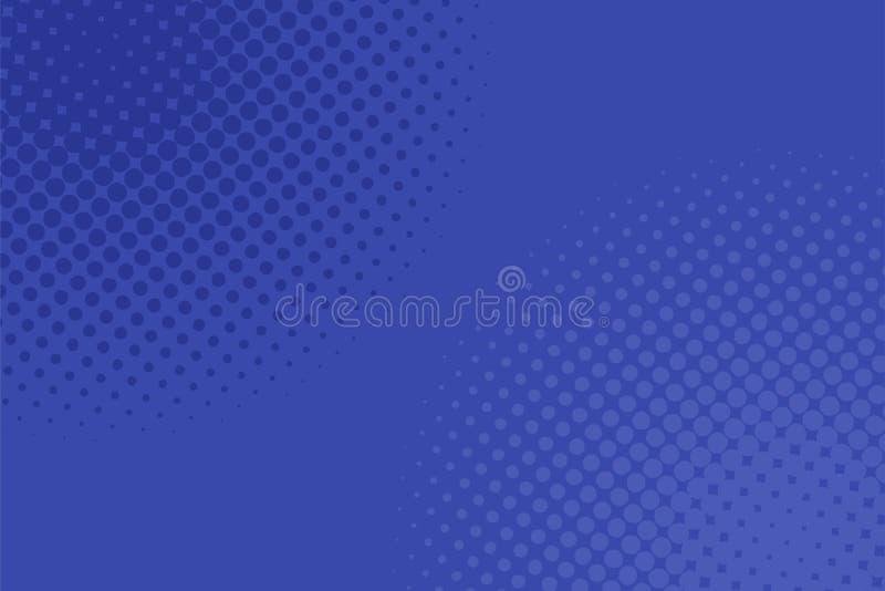 De geometrische halftone achtergrond van het puntpatroon - grafisch ontwerp van blauwe cirkels royalty-vrije illustratie