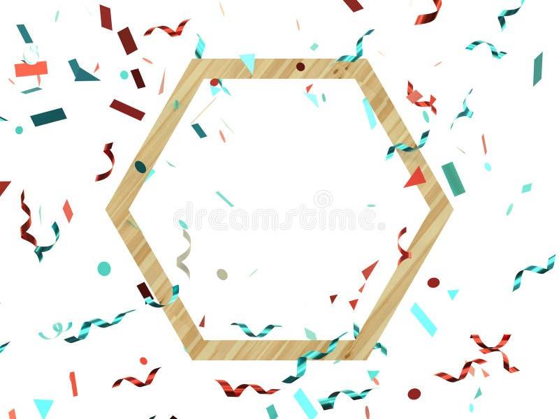 de geometrische houten kadergroep rode blauwe 3d lintlevitatie geeft decoratie terug vector illustratie