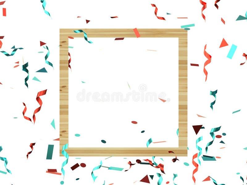 De geometrische houten kadergroep rode blauwe 3d lintlevitatie geeft decoratie terug stock illustratie