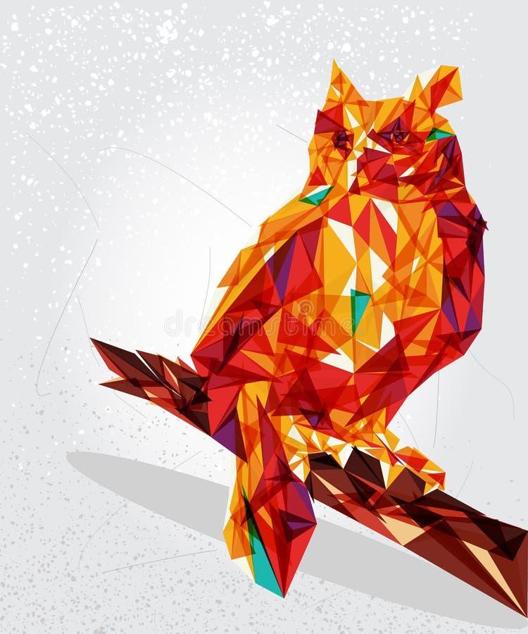 De geometrische illustratie van de uilvogel. royalty-vrije illustratie