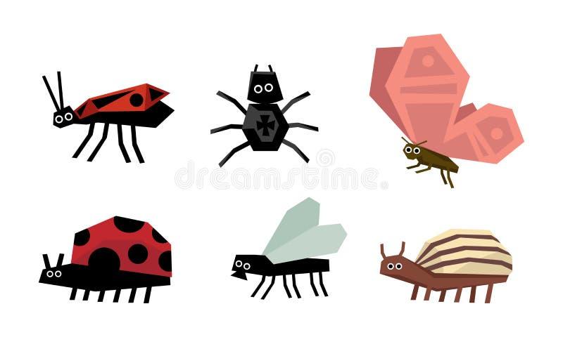 De geometrische insecten plaatsen, spin, insect, lieveheersbeestje, de coloradokever van Colorado, vlieg, vlinder vectorillustrat vector illustratie