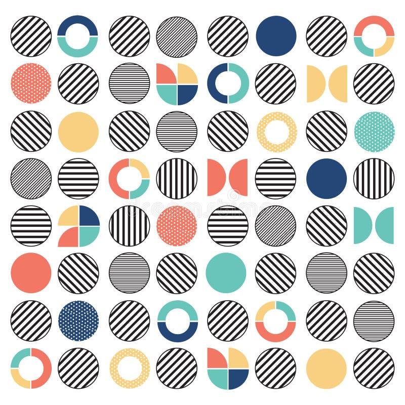 De geometrische kleurrijke gemengde achtergrond van het cirkel naadloze patroon royalty-vrije illustratie