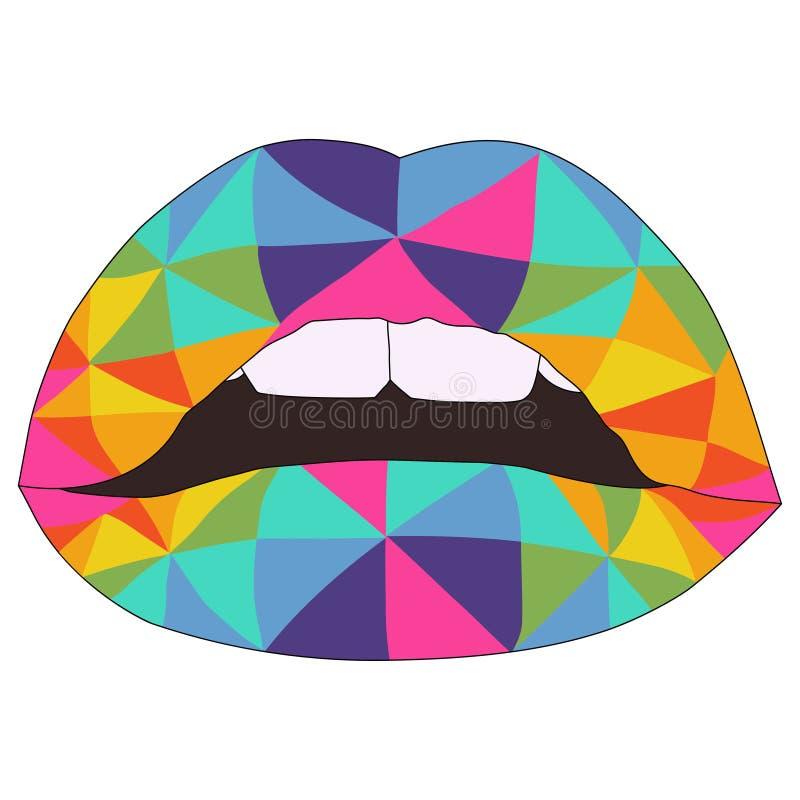 De geometrische kleurrijke vector van regenbooglippen stock illustratie