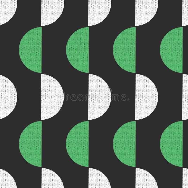 De geometrische naadloze vector retro stijl van de achtergrondhalve cirkels grunge textuur Het abstracte patroon groene witte zwa vector illustratie