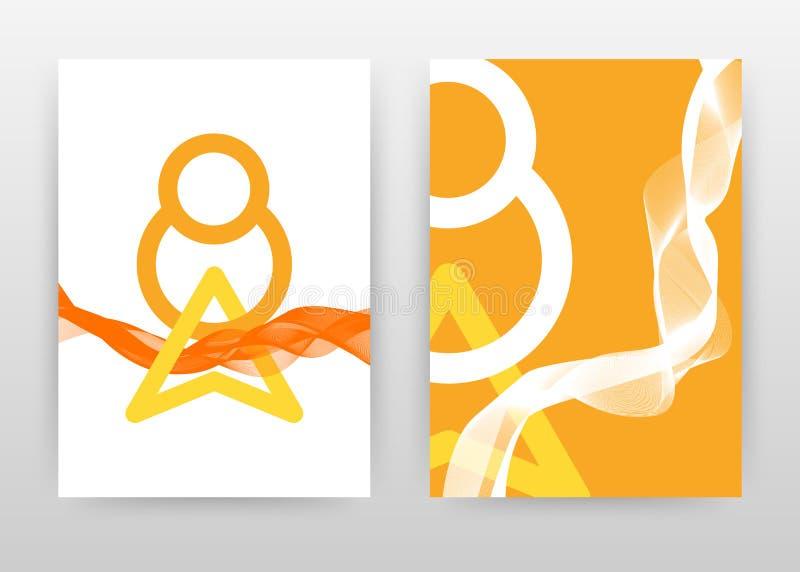 De geometrische ronde en de driehoek met sinaasappel golften lijnen ontwerpen jaarverslag, brochure, vlieger, affiche Gegolfte li vector illustratie