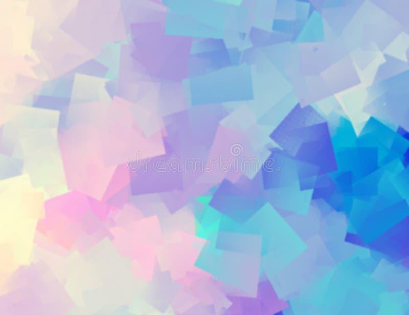 De geometrische samenvatting van het waterverfpatroon Blauwe roze vage achtergrond stock illustratie