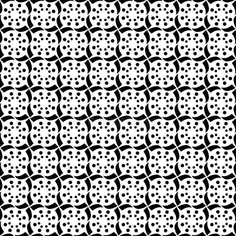 De geometrische Sterrenpolka Dots Decorative Trendy Tribal Design wervelt en omcirkelt het Herhalen van Naadloos Vectorpatroonont royalty-vrije illustratie