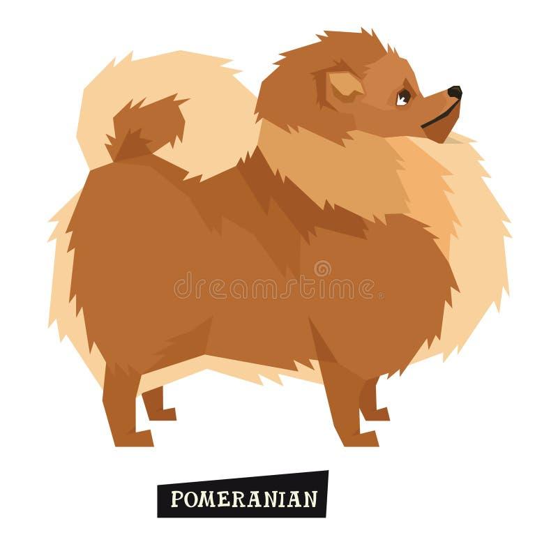 De Geometrische stijl van Pomeranian van de hondinzameling stock illustratie