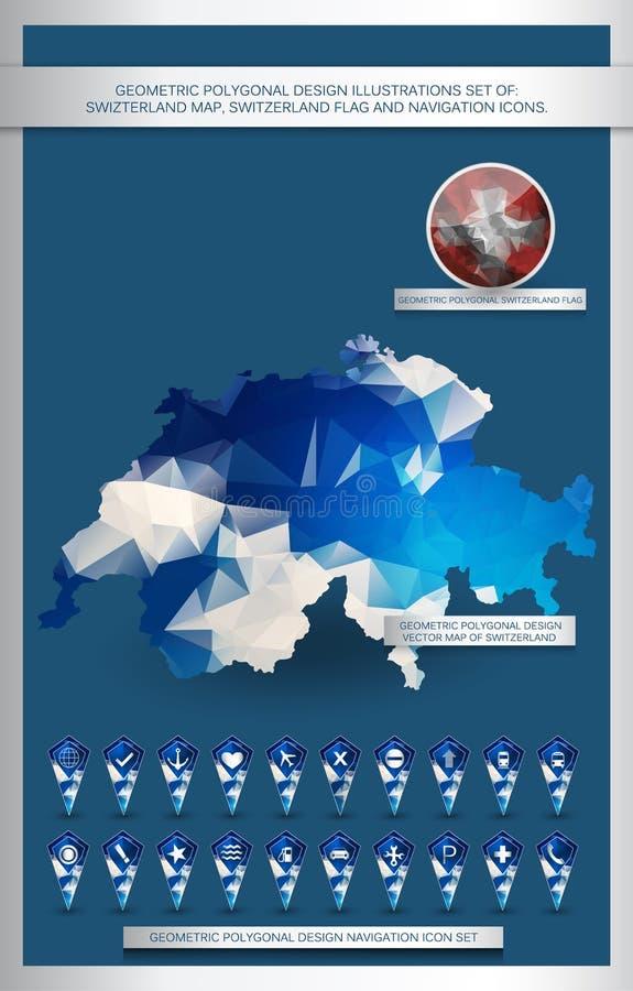 De geometrische veelhoekige reeks van ontwerpillustraties van Zwitserland vector illustratie