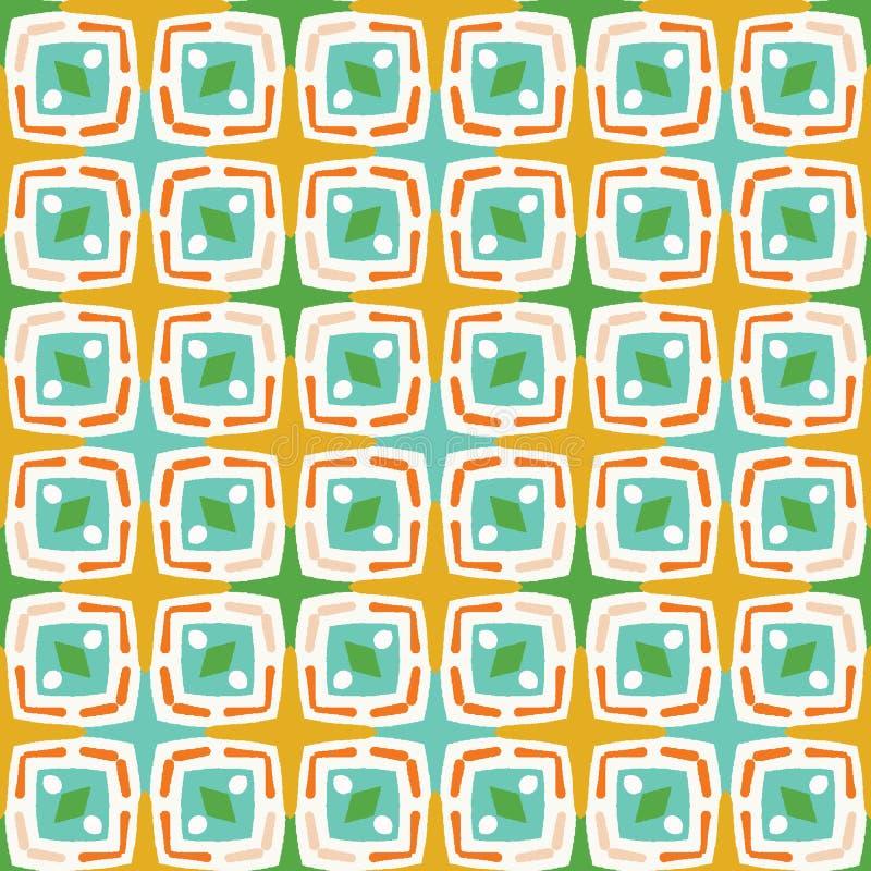 De geometrische vierkanten stippelen vormen naadloos patroon Overal druk vectorachtergrond De zomerbunting manierstijl In jonge g vector illustratie