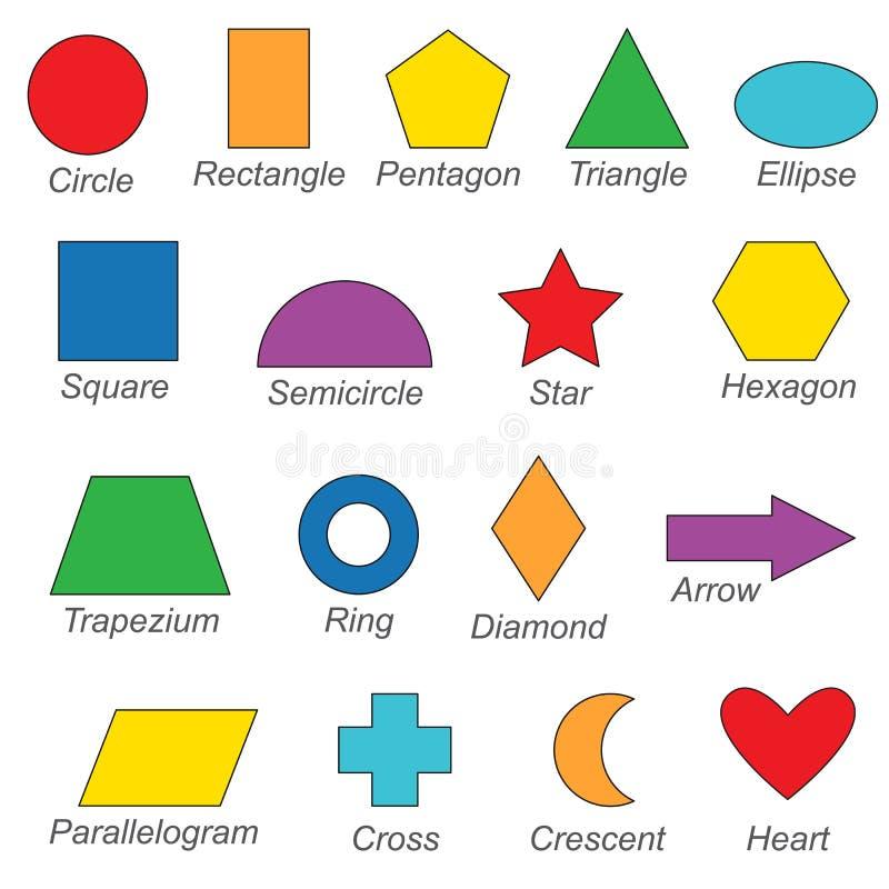 De geometrische vormen en de vormen plaatsen, de inzameling van het kleuren van boekmalplaatje, de groep overzichts digitale elem vector illustratie