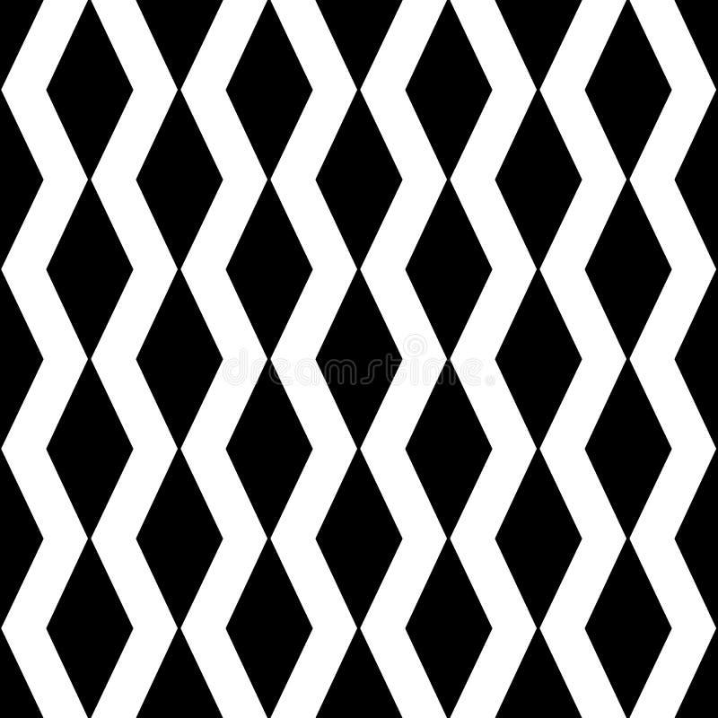 De geometrische zigzaglijnen vatten naadloos patroon samen Zwarte en whi royalty-vrije illustratie