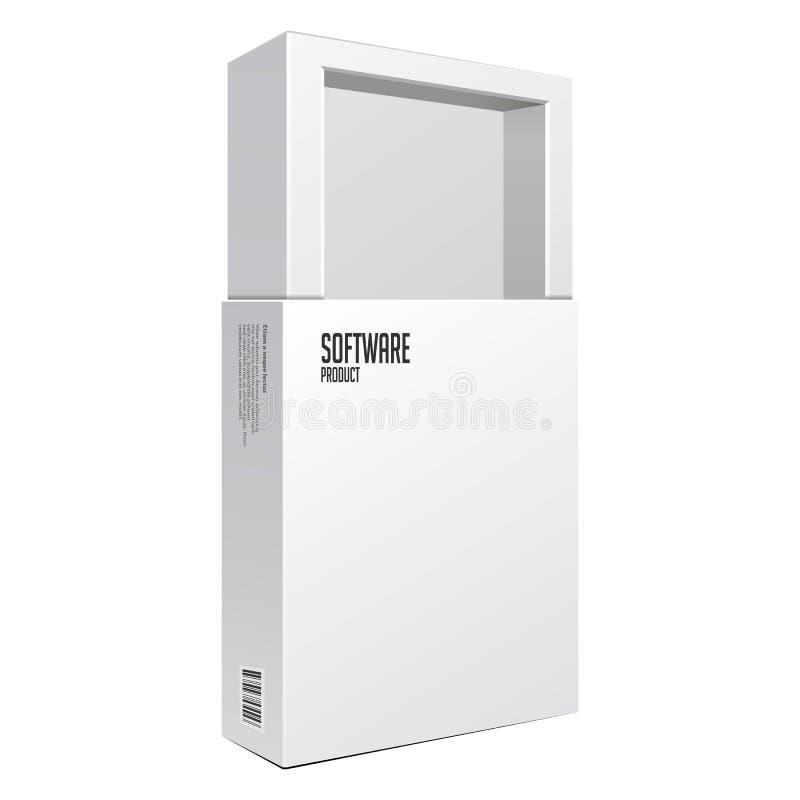 De geopende Witte Moderne Doos van het Softwarepakket voor DVD, CD Schijf of Ander Uw Product EPS10 royalty-vrije illustratie