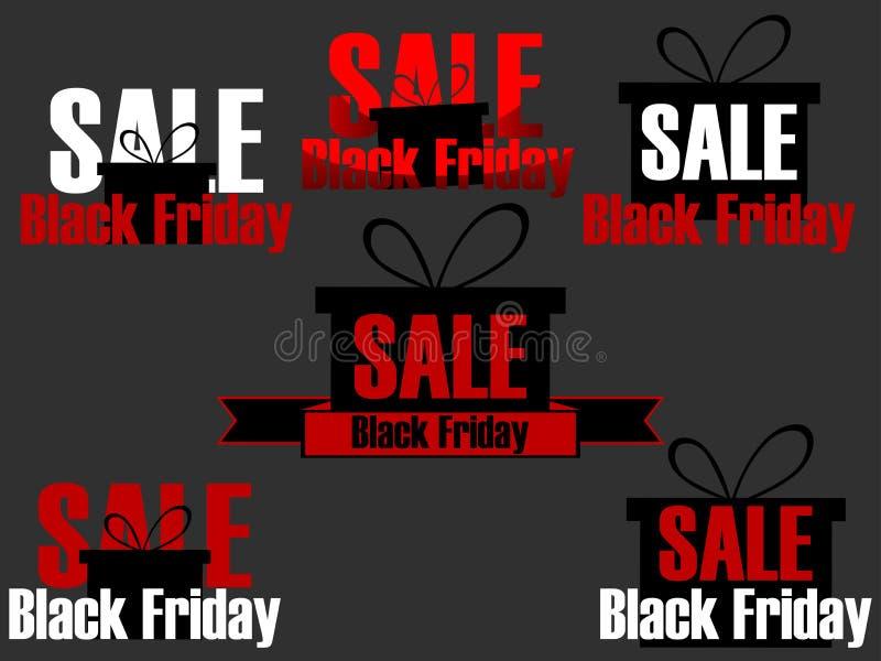 De geplaatste pictogrammen en de etiketten van Black Friday Stickers op verkoop Black Friday Ontwerp met giftdoos op verkoop Vect royalty-vrije illustratie