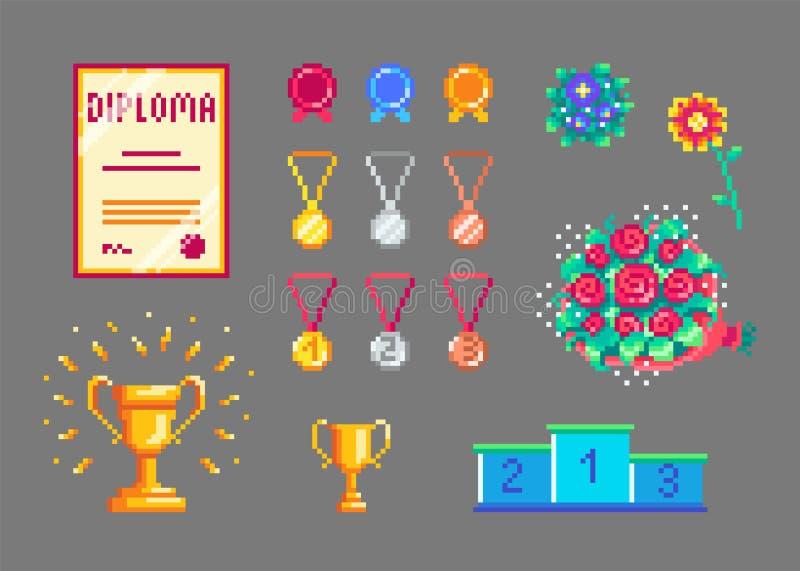 De geplaatste trofeeën en de medailles van de pixelkunst royalty-vrije illustratie