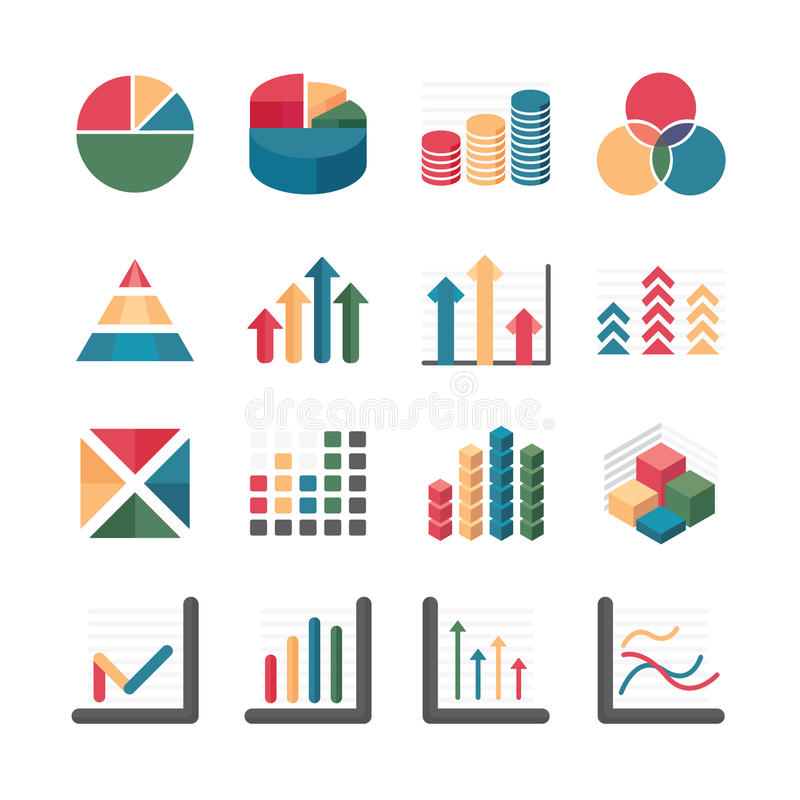 De geplaatste Zaken van de grafiekgrafiek en financiële Pictogrammen. Vectorillustratio royalty-vrije illustratie